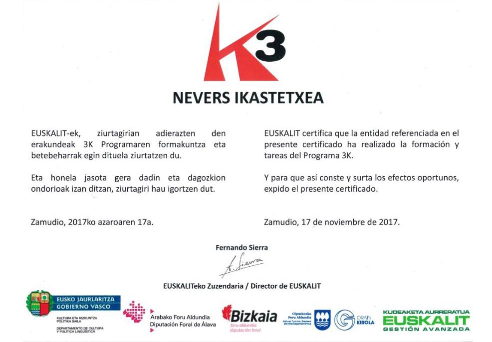 euskalit programa 3k Nevers Ikastetxea